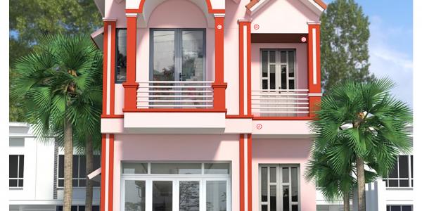 Mẫu phối màu công trình nhà chú Dương - tone hồng
